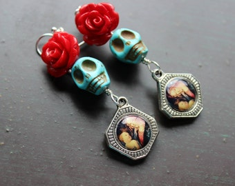 Sugar Skull and Red Rose Virgin Mary Day of the Dead Earrings