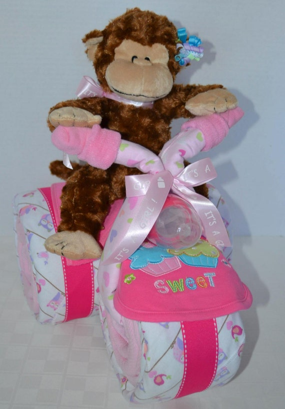 Diaper cake baby shower gift baby cake tricycle trike owls monkey