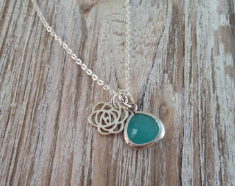 Rose Necklace, Sterling Silver Rose Necklace, Birthstone Necklace, Wedding Accessories, Bridesmaid Gifts, Birthday Gift, Christmas Gift