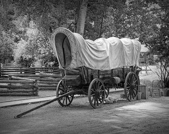 Frontier Covered Wagon at the Fort Edmonton Museum in Edmonton Alberta in either Black & White  or Sepia No.1438BW Fine Art Photography