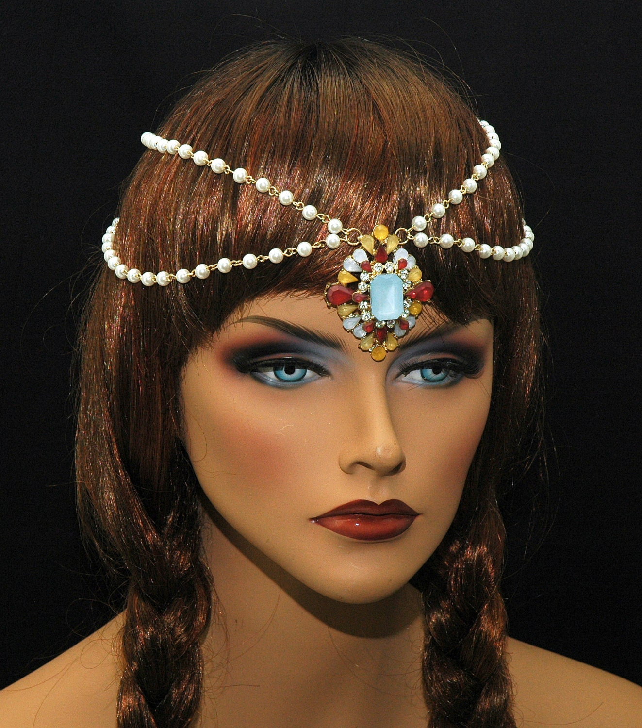 tribal jewelry tikka headpiece by ayansiweddingdesigns