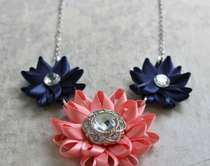Navy and Coral Necklace, Coral and Navy Necklace, Coral and Navy Blue Wedding, Coral Wedding, Navy Wedding, Coral Bridesmaid Jewelry