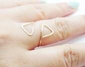 14 Karat Gold Filled Triangle Ring Pyramid Adjustable Ring Minimalist Hammered