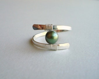 Sterling Silver Pearl Ring, Pearl Wire Ring, Hammered Silver Ring, Minimalist Wire Ring:  Choose Your Color