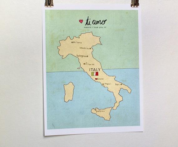 I Love You in Italy // Typographic Print, Italian Map, Giclee, Modern Baby Nursery Decor, Illustration, European Travel Theme, Digital