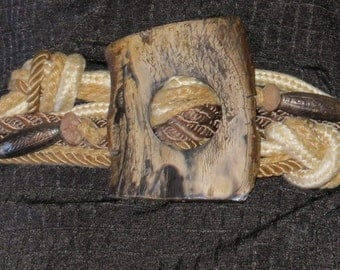 1980s Petrified Wood and Rope Belt