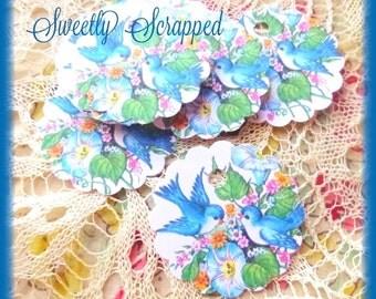 12 Blue Bird Tags, Vintage, Circle, Spring, Summer, Gift Tag, Label