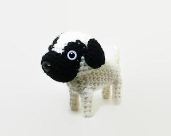 Pug Stuffed Animal Amigurumi Dog Crochet Puppy Plush Doll / Made to Order