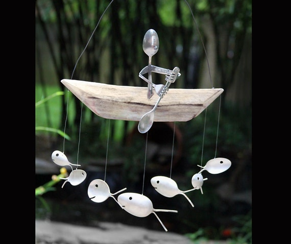 Paddle trip spoon man and fish wind chime kayak white for Fish wind chimes