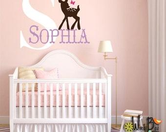 Baby Deer Monogram - Personalized - Vinyl Wall Decal Sticker Art for nursery or childrens room