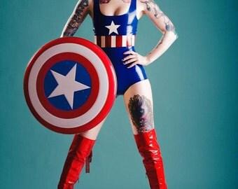 Rubber Latex Captain America Inspired Bodysuit