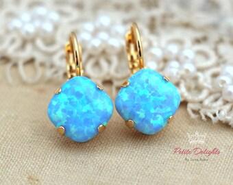 Opal Earrings,Opal drop earrings,Gift for her,Opal Blue Gold earrings,Opal jewelr,Opal Jewelry,Blue Opal earring ,Opal Drop earrings