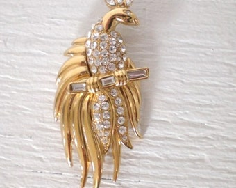 Vintage Rhinestone Peacock Brooch Monet Gold Tone Signed Mid Century Bird Pin Figural Costume Jewelry GallivantsVintage