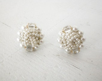 Vintage White Cluster Earrings Wired Faux Pearl Glass Beads Japan Clip On Mid Century Costume Jewelry GallivantsVintage