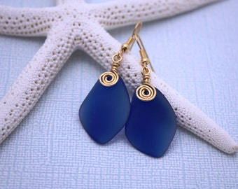 Cobalt Blue Sea Glass Earrings, Seaglass Earrings, Sea Glass Jewelry, Beach Glass Earrings, Beach Jewelry Seaglass Jewelry Ocean Jewelry 079