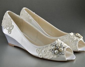 Wedding Shoes Lace Wedge Wedding Shoes - Custom Wedding Shoes- Accessories- Women's Shoe- Women's Bridal Wedge Shoe, Ladies Wedding Shoes