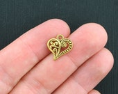 10 Heart Charms Antique Gold Tone Scroll Design - GC284