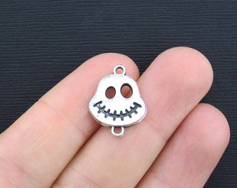 10 Skull Connector Charms Antique Silver Tone - SC2523