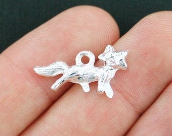8 Fox Charms Silver Plated 3D Charms - SC3969
