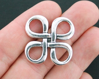 4 Knot Charm Connectors Antique Silver Tone 2 Sided Celtic Weave - SC4207