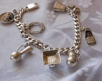 Vintage bracelet, Signed Mexico sterling silver charm bracelet, 6 & 1/2inch charm bracelet,collectible bracelet