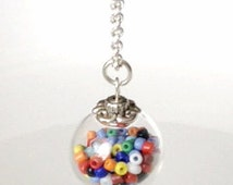 Glass ball Necklace with mulit-colored beads