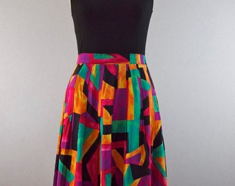 Bright Geometric Watercolor Print Pleated Skirt
