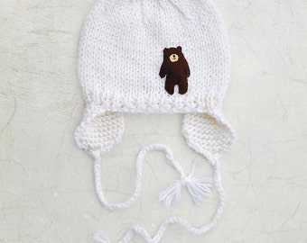 Newborn Baby Toddler Girls / Boys Hat, hand knitted Yellow with brown Bear Applique, earflaps White, 0-3-6-9-12-18-24 months, 2T-3T-4T-5T