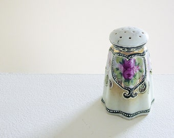 Vintage Nippon China Salt Shaker - Hand Painted - Art Nouveau Edwardian Style -  Gift For Hopeless Romantic - Porcelain Hat Pin Holder