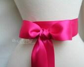 Begonia Azalea Sash Belt - Double Faced Satin Ribbon Sash - Bridal Bridesmaids Flower girl Sashes - Many Colors