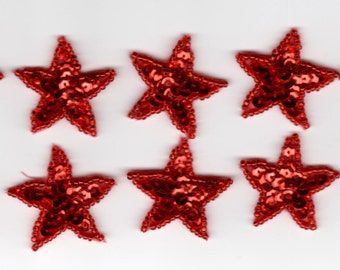 10 Red Sequin Beaded Applique Stars Costume Halloween Christmas Flag Pageant Scrapbooking Dance Skating American Quinceañera