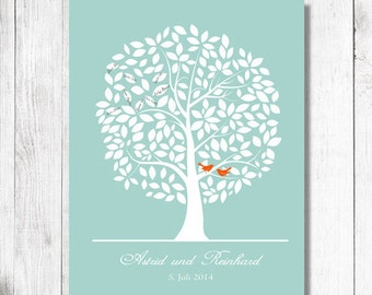 Wedding Guest book. Wedding tree Guestbook Alternative Print.To Be Personalized With Guest's Signatures - 17x22 - 160 Signature Guestbook
