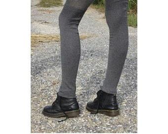 Soft Cashmere Thigh High Socks Leg Warmers Charcoal Gray Cotton Blend Knit A1404