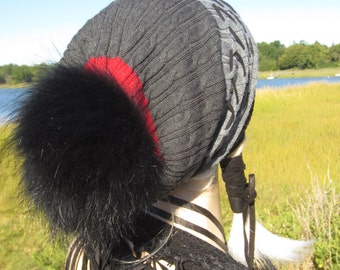 Fur Pom Pom Beanie Hat Cable Knit Long Stocking Cap Slouchy Beanie Corset Lacing Black Red Gray Striped Bobble hat A1154