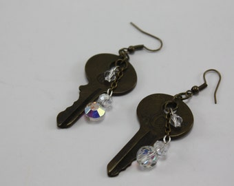Vintage Keys and Crystals Handcrafted Repurposed Assemblage Earrings OOAK
