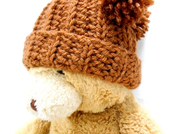 Newborn Baby Hat, Brown Pom Pom Hat, New Baby Boy Hat, Baby Shower
