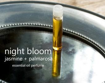 Jasmine and Palmarosa Natural Perfume Oil, Night Bloom, 1ml Sample Vial, Essential Oil Sensual Aromatherapy