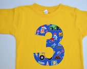 Boys 3rd Birthday Shirt, Construction Workers Tshirt, Building Party, Number 3 Tee, Ready to Ship, Size 4 4T, Yellow and Blue