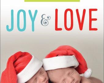 Ribbon Christmas Card / Photo Card / Twins Birth Announcement (Digital File)