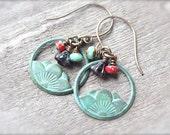 Art Deco Hoop Earrings with Orange, Turquoise Czech Bead Accents