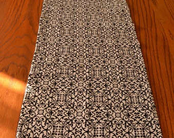 Table Runner-lined, double sided- black and white damask and swirl - 42 by 14