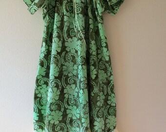 9/10, Celery Green Batik Girls Cotton Dress/Gown