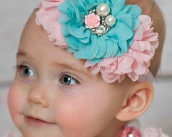 Baby headbands, Baby Headband,Pink and Aqua baby Headband,baby girl headband,Girls Headband,Easter Headband,Girls Headband, Baby Hair Bows.A