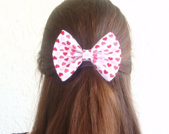 Pink Hearts Hair Bow Valentines Day Hair Clip Teen Woman Alligator Clip, French Barrette