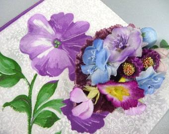 Vintage Hanky Corsage Pin Lavender Purple Blue Floral Velvet Millinery Bridesmaid Gift Hankie