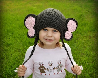 Crochet Baby Elephant Earflap Hat - Newborn to 10 years - Charcoal and Soft Pink - MADE TO ORDER