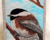 Chickadee Stitched Art Card