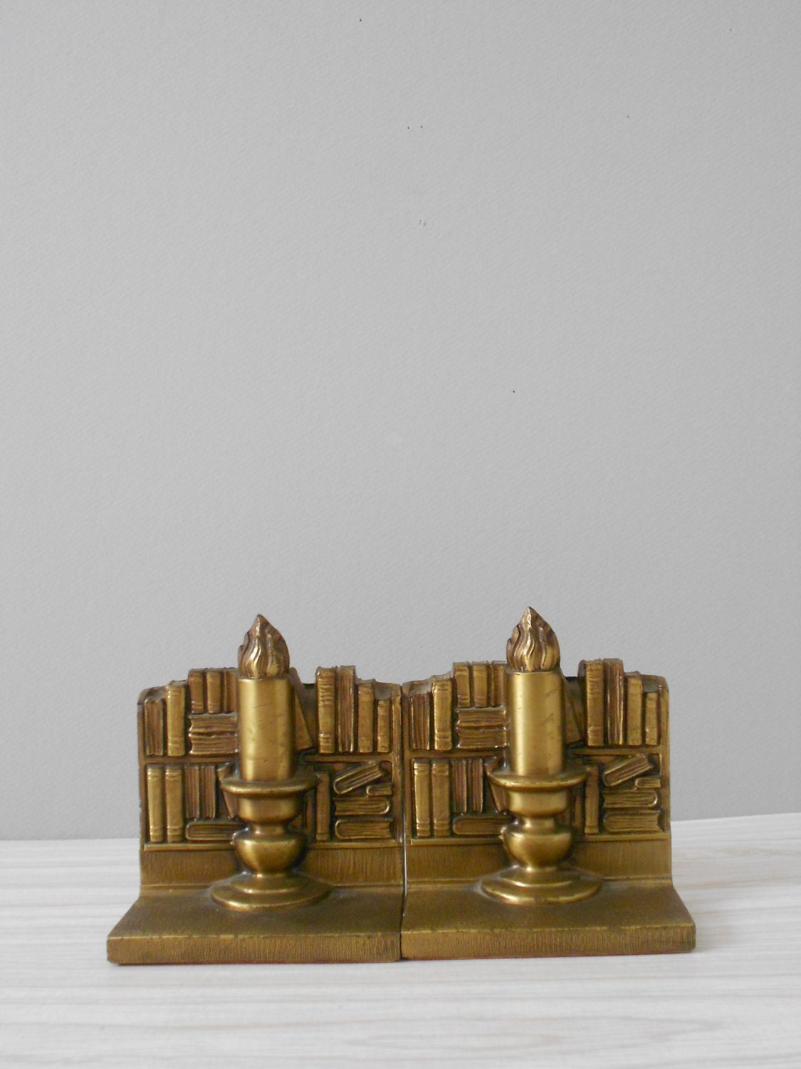 Sale Vintage Heavy Solid Cast Brass Candle Bookends 1950s Library Home Decor Housewares