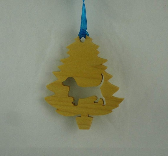 Basset Hound Christmas Tree Ornament Handmade From Poplar Wood, Hound Dog