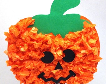 Tissue paper pumpkin craft kit for kids for halloween or fall